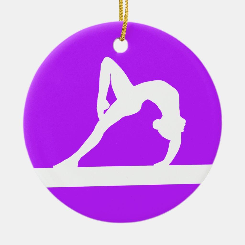 Gymnast Ornament w/Name Purple