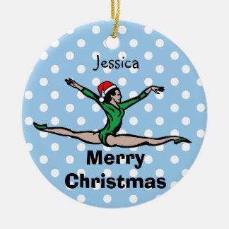 Gymnast Personalize Leap Santa ornament