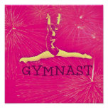 Gymnast Poster - Pink fireworks split-jump