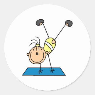 Gymnast Practicing  Classic Round Sticker