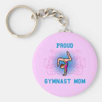Gymnast Proud Mom Basic Round Button Keychain