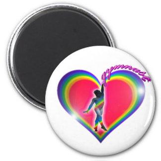 Gymnast Rainbow Heart 2 Inch Round Magnet
