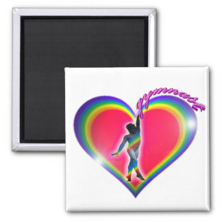 Gymnast Rainbow Heart 2 Inch Square Magnet