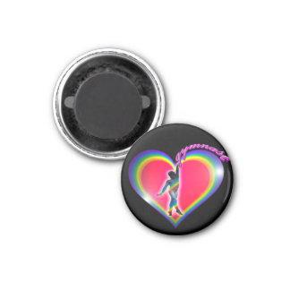 Gymnast Rainbow Heart Black 1 Inch Round Magnet