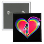 Gymnast Rainbow Heart Black Pinback Buttons