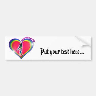 Gymnast Rainbow Heart Bumper Sticker