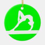 Gymnast Silhouette Ornament Green
