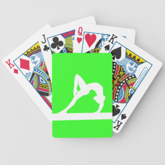 Gymnast Silhouette Playing Cards Green