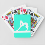 "Gymnast Silhouette Playing Cards Turquoise<br><div class=""desc"">Playing cards with a silhouette of a female gymnast in action. Customize it with a name for that personal touch.  Available in different colors and on other products at my store.</div>"