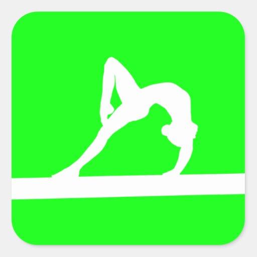 Gymnast Silhouette Sticker Green