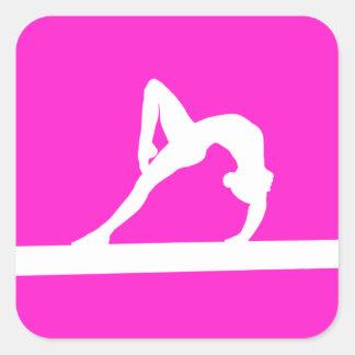 Gymnast Silhouette Sticker Pink