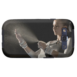 Gymnast spraying water on hands galaxy SIII covers