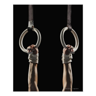 Gymnast swinging from rings 2 poster