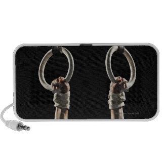 Gymnast swinging from rings 2 mini speakers