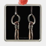 Gymnast swinging from rings 2 square metal christmas ornament