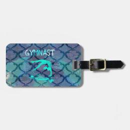 Gymnast Tribal Pattern Blue Bag Tag