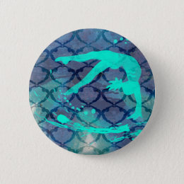 Gymnast Tribal Pattern Blue Pinback Button