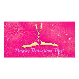 Gymnast Valentines Day Photocard Card