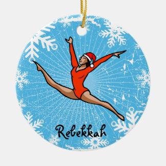 GymnastChick Leap Santa personalize ornament