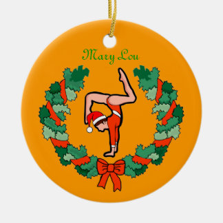 GymnastChick Wreath Handstand personalize ornament