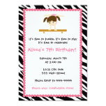 Gymnastic Ballet Birthday Party Invitation Zebra