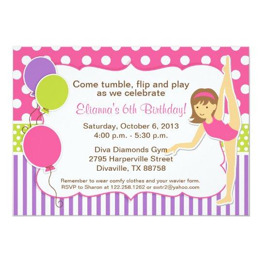 Gymnastic Birthday Invitation