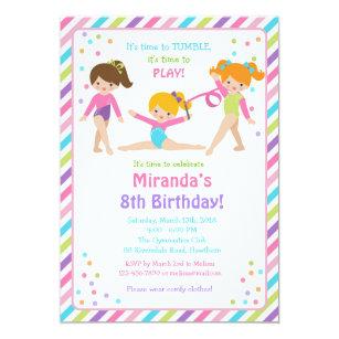 Gymnastic Birthday Invitation Invite