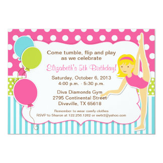 Gymnastic Blonde Girl Birthday Party 5x7 Paper Invitation Card
