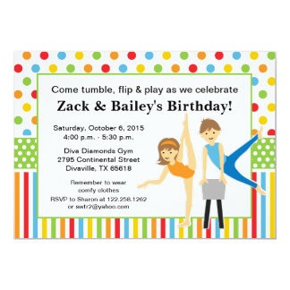 Gymnastic Boy and Girl Birthday Party 5x7 Paper Invitation Card