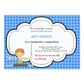 Gymnastic Boy Competition (Blue) Personalized Invitation