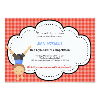 Gymnastic Boy Competition (Red) Personalized Invitation