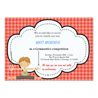 Gymnastic Boy Competition (Red) Personalized Announcements