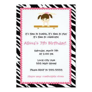 Gymnastic Girl Birthday Party Invitation Zebra