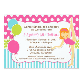 Gymnastic Girl with Red Hair Invitaiton 5x7 Paper Invitation Card