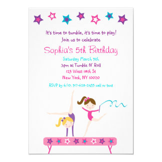 Gymnastic Girls Birthday Card