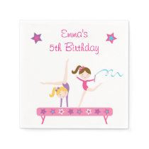 Gymnastic Girls Birthday Paper Napkin