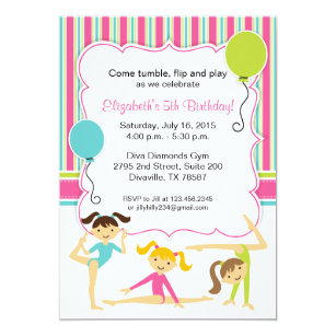 Gymnastics birthday invitations zazzle gymnastic girls birthday party invitation filmwisefo