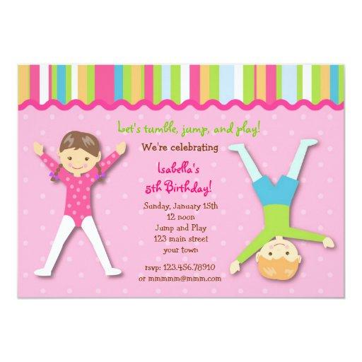 Gymnastic Gym Gymnast Birthday Party Invitations   Zazzle