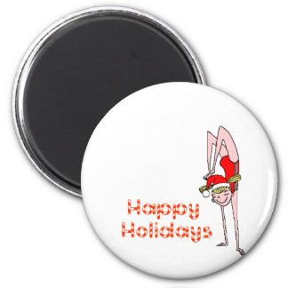 Gymnastic Happy Holidays 2 Inch Round Magnet