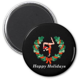 Gymnastic Happy Holidays Wreath 2 Inch Round Magnet