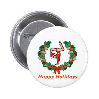 Gymnastic Happy Holidays Wreath Button