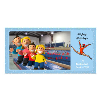 Gymnastic Holiday Photo Card Leap Santa
