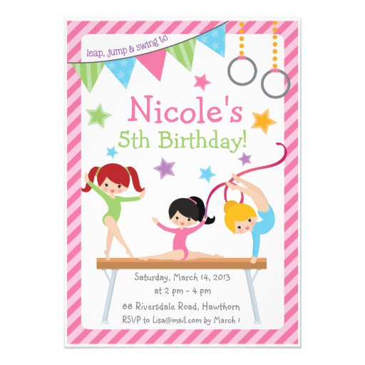 Gymnastic Party Invites for best invitation design