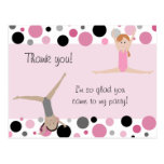 Gymnastic Party Thank You in Pink, Gray & Black Postcard