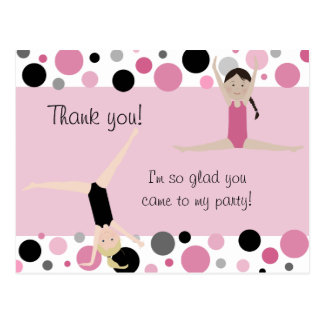 Gymnastic Party Thank You in Pink Gray Black Post Card