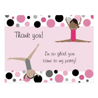 Gymnastic Party Thank You in Pink Gray Black Post Cards
