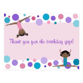 Gymnastic Party Thank You in Pink, Purple & Aqua Postcard