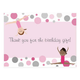 Gymnastic Party Thank You in Pinks Gray Postcard
