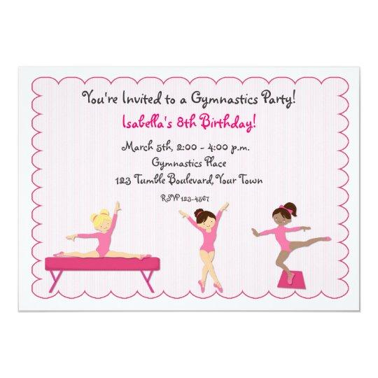 Gymnastic Party, Tumbling, Pink Invitation