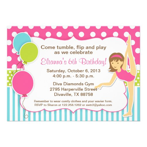 Gymnastic Pink Green and Blue Girl Invitations